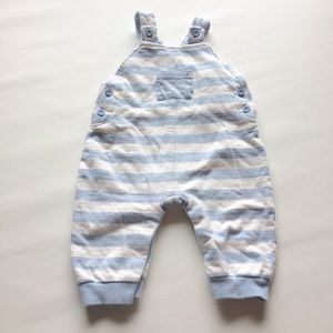 Baby Striped Blue Knit Overalls